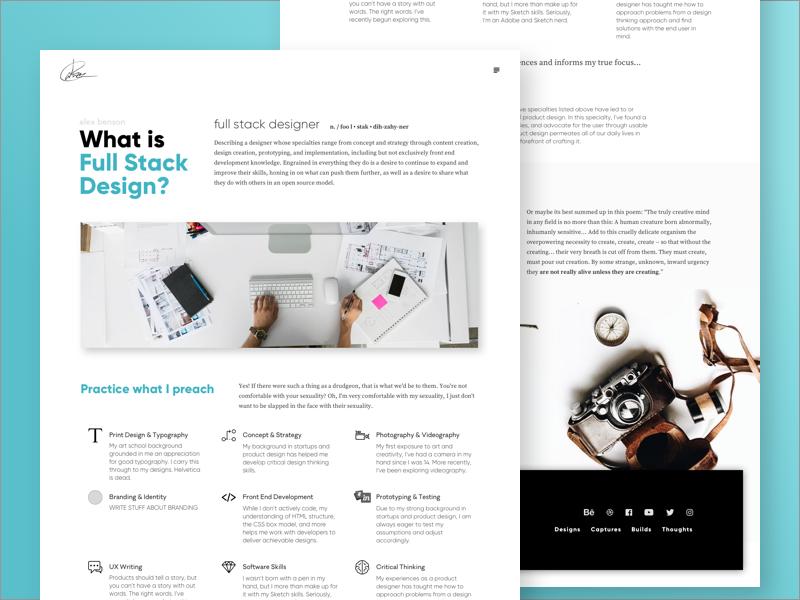 Full Stack Design product design details about page full stack designer portfolio