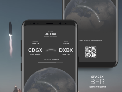 Space X BFR - Earth To Earth arrival destination status flight ticket travel rocket spacex