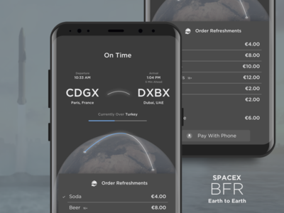 Space X BRF - Earth To Earth Refreshments spacex rocket travel food menu order flight status destination arrival