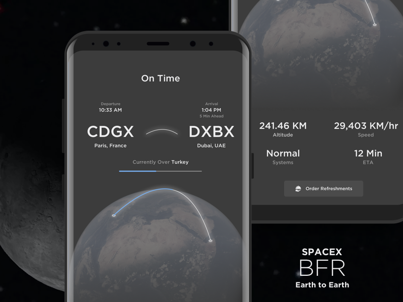 Space x bfr   earth to earth arriving