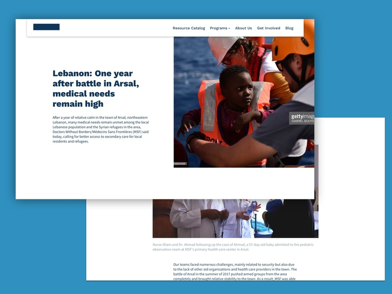 Client Website - Blog non profit medical blog features marketing site landing page freelance redesign website