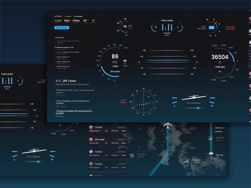 Flight Screen digital display ux ui indicators dials pilot controls dashboard airplane