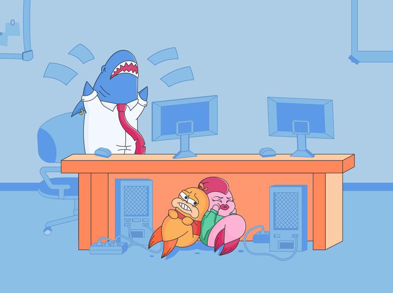 Fish clerck: boss anger vectorart web vector illustration