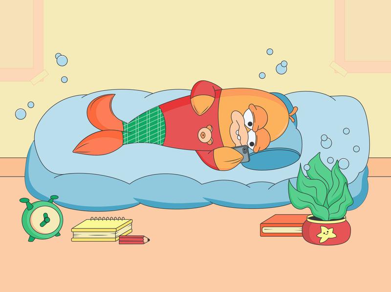 Fish clerk: home, peace, comfort ux ui vector illustraion logo design web illustration