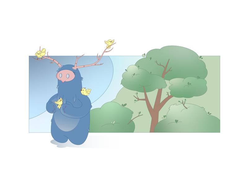 Forest inhabitants bird forest cartoon character flat illustraion vector illustration
