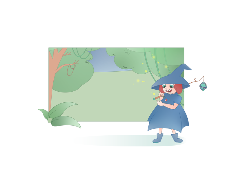 Forest inhabitants forest witch cartoon character flat vector illustration