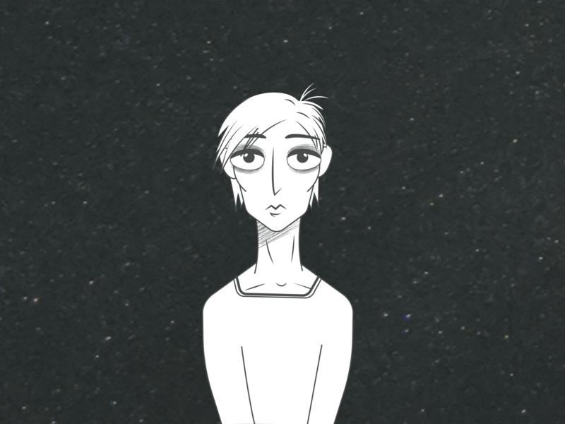 who am i? dark vector cartoon character illustration
