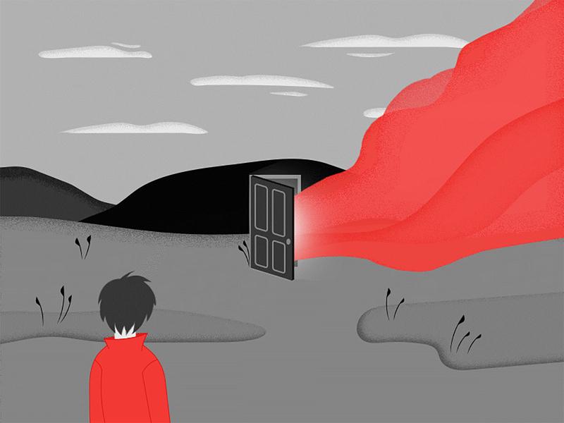 Atmosphere mysticism noir noise atmosphere flat web cartoon character vector illustration