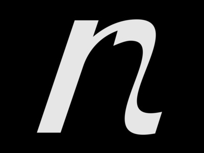 lowercase letter n on black background