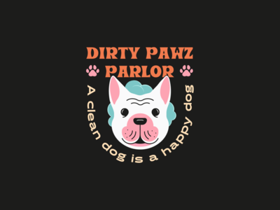 Dirty Pawz Parlor icon illustration graphicdesign dog logo brand dog