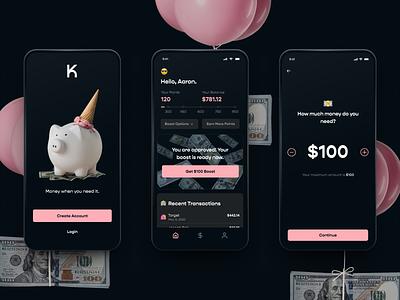 Klover App cash advance cash fintech app design app ui