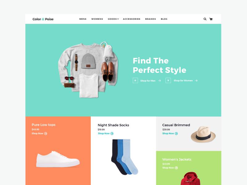 Color & Poise layout color theme web design e-commerce website