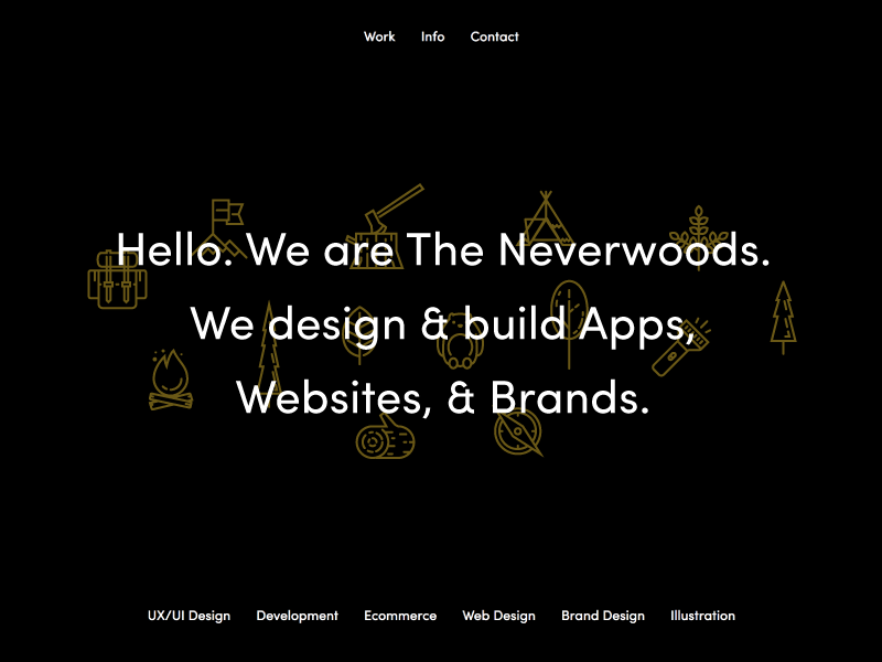 Neverwoods layout dark icon type website