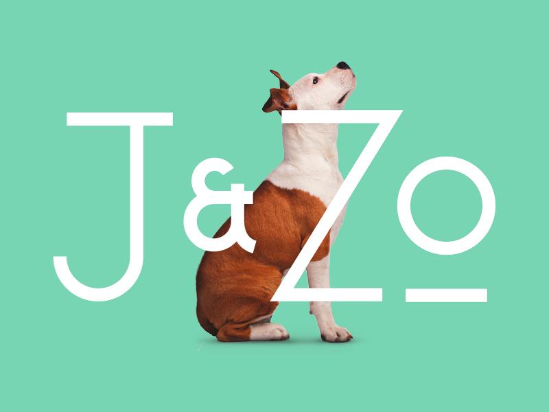 J & Zo dog pet type letting identity brand logo