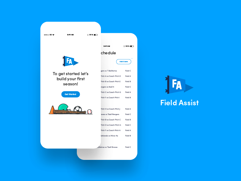 Field Assist interface brand schedule sports ux ui app