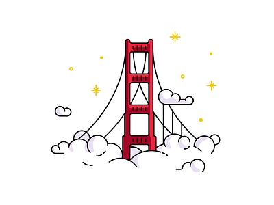 San Francisco golden gate bridge icon illustration san francisco