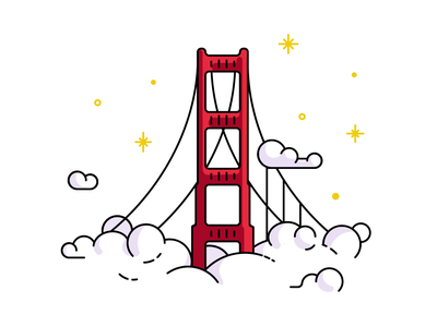 San Francisco golden gate bridge icon illustration san francisco