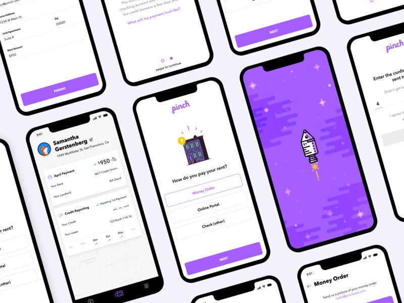 Pinch App color illustrations startup fintech ios mobile ui ux app