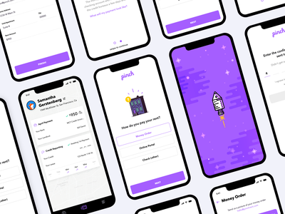 Pinch App color illustrations startup fintech ios mobile ui ux app
