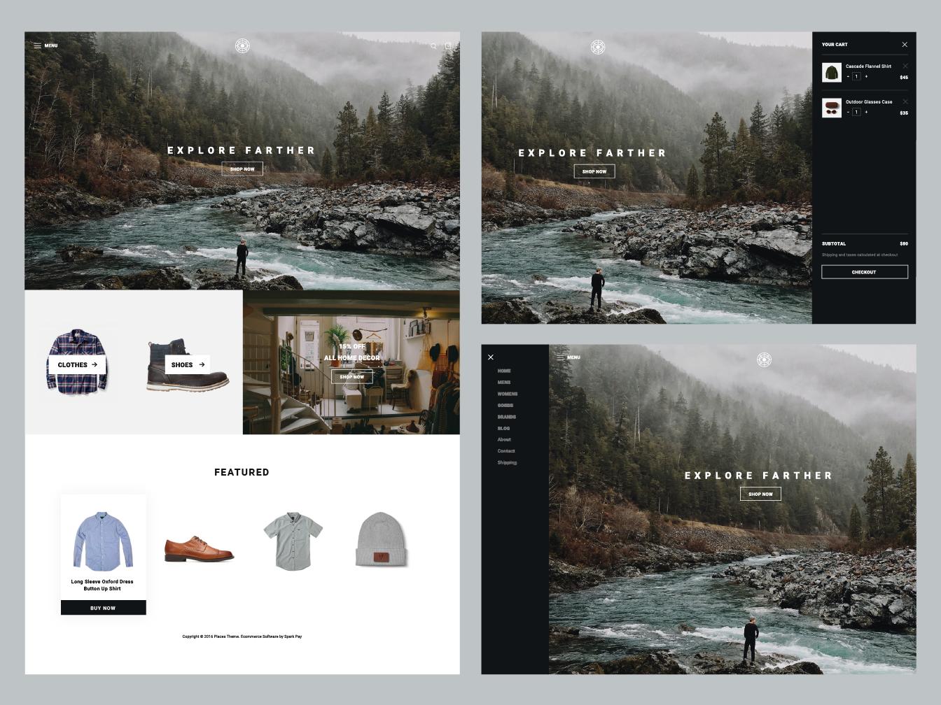 Places web layout website theme
