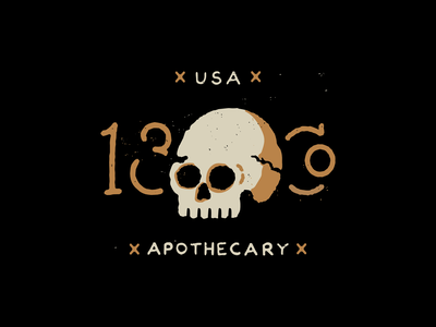 13 & Co skull hand drawn typography illustration brand
