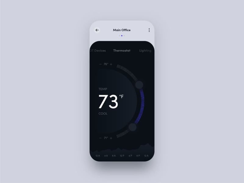 Thermostat dark dark app iot thermostat app ui