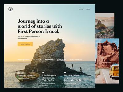 First Person Travel Website layout website design travel brand website