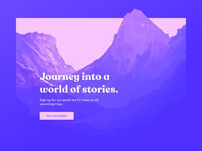 Landing page concept travel mountains layout color website illustration