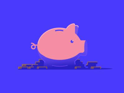 Piggy Bank coins money color banking bank pig icon illustration