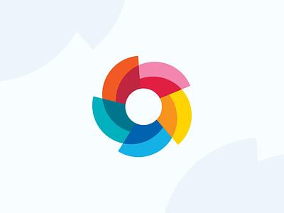 Tropical Logo hawaii tourism logo colorful spin pinwheel shutter burst sun flower