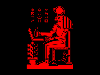 Work from Home illustration vector egyptian egypt ancient egypt mythology egyptian god ra desk office working remote work covid-19 quarantine work from home wfh