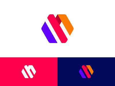 M logo x 4 monogram hexagon letter logo m