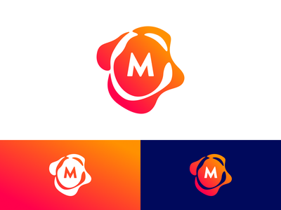 M logo x1 water drip melt flow blob liquid mark logo m