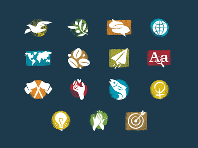 Textured Icons texture teamwork womens rights fish nonprofit charity hand heart flags paper airplane coffee earth globe world speech bubbles olive branch dove nature grunge icon