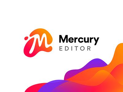 Mercury Editor Logo vibrant bright warm script blob gradient wave branding product tool drupal m mercury vector logo