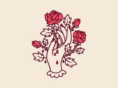 Hand & Rose macabre death grotesque feminine blood thorn vine red rose hand cliche