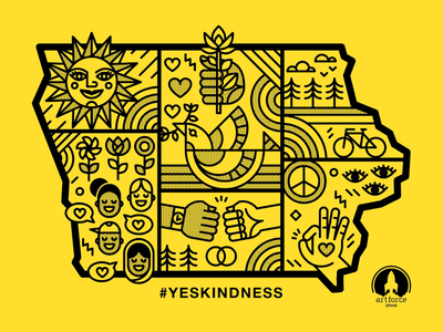 #YESKINDNESS Iowa empathy social justice justice peace illustration vector des moines iowa nice iowa