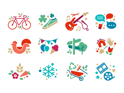Activities Icons nonprofit cinema movie christmas winter garden party farmers market chicken chat social music st. patricks bike color vector icon