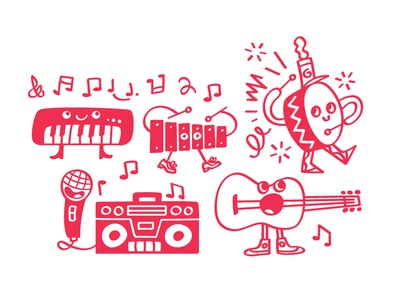 Music characters doodle band percussion xylophone guitar radio piano drum musical instruments art music illustration iowa vector