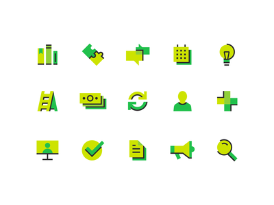 Icons iconset lightbulb bullhorn announcement search webinar computer library book user college university education elearning school learning green medical vector icon