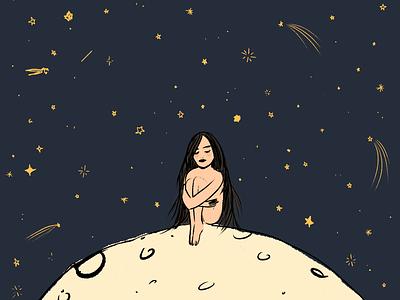 where am i girl mental health awareness moon digital illustration drawing illustration