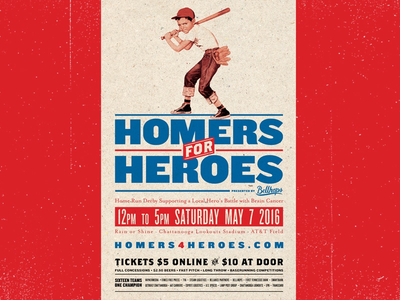 Homers For Heroes americana home run derby poster event charity vintage baseball