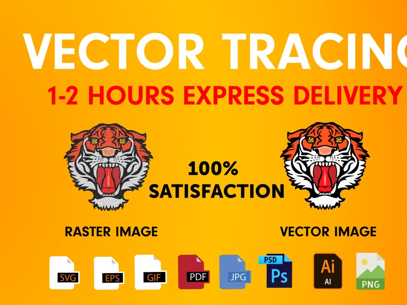 I will do vector tracing ai, eps, svg, pdf, jpg, png, PSD to vec vector logos logo design vector logo vector art vector illustration vectorart raster to vector logodesign illustration logo to vector vector tracing logo design business branding