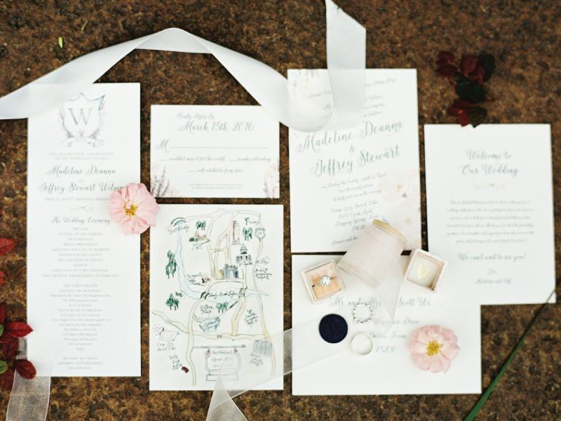 Wedding Stationary Suite floral garden romantic event program invitation monogram watercolor wedding
