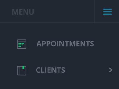 Flat Menu Icons menu icons flat ui ux appointments clients accounts reports tools setup help