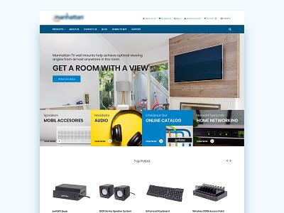 Multimedia accessories sales website ecommerce web  design flat web ui web design