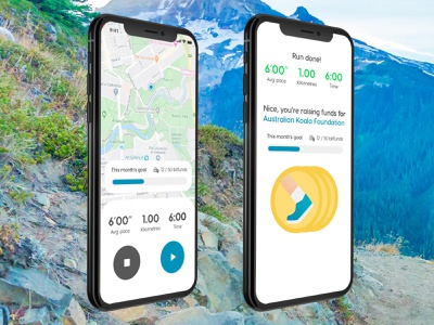 Dashfund runtracking charity app ui design mobile ui mobile app