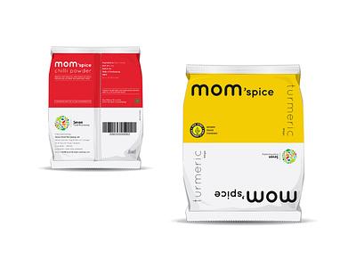 mom'spice naming designer logo design studio india logotype indian spice packaging organic logo organic food packaging design logo design