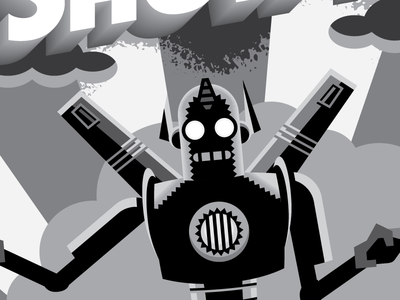 Robo Noire silhouette optimus prime voltron iron giant metal man texture noir atomic black and white robot