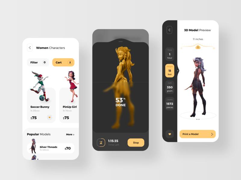 Mobile App for 3d Printer modeling model printers prints printmaking printing print printer 3d animation 3d art 3d rondesign